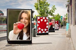 Love billboards, photographs of a wo