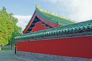 Chinese wall and roof details