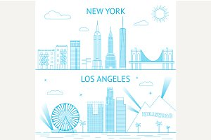 New York and Los Angeles skyline