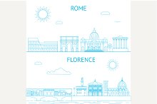 Rome and Florence vector