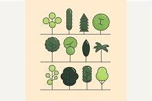 Modern flat trees set. Vector trees