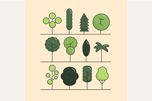 Modern flat trees set. Vector trees