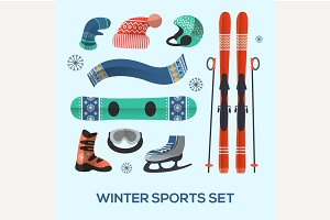 Winter sports design elements set.
