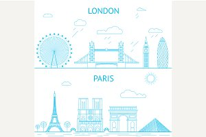 London and Paris skyline