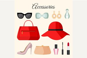 Lady fashion accessories set in flat