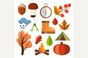 Flat forest icon set. Autumn forest