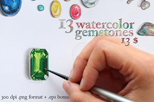 13 Gemstones, watercolor cutout .png