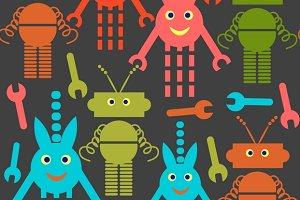 3 robots seamless pattern