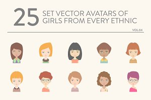 25 vector avatars of girls vol.04