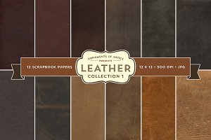 12 Leather Scrapbook Papers - 12x12