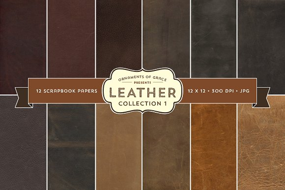 12 Leather Scrapbook Papers 12x12 Textures Creative Market
