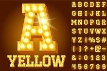 Light up yellow alphabet