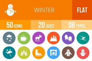 50 Winter Flat Round Icons