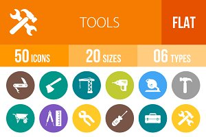 50 Tools Flat Round Icons