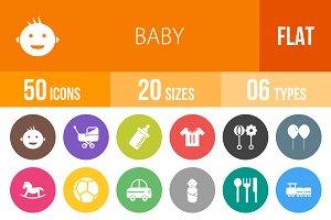 50 Baby Flat Round Icons