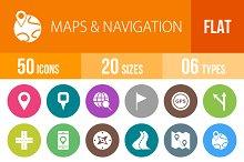 50 Maps Navigation Flat Round Icons