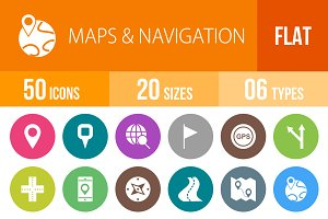 50 Maps Navigation Flat Round Icons