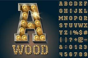 Vector wooden lamp alphabet