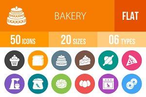 50 Bakery Flat Round Icons