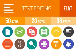 50 Text Editing Flat Round Icons