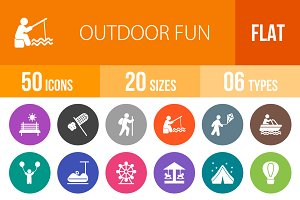 50 Outdoor Fun Flat Round Icons
