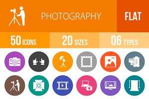 50 Photography Flat Round Icons
