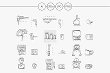Metrology sketch icons collection