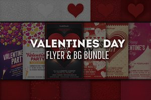 Valentines Day Flyer & BG/ Bundle
