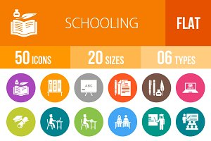 50 Schooling Flat Round Icons