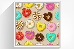 Seamless donuts background.