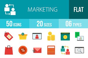 50 Marketing Flat Multicolor Icons