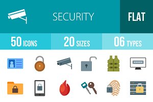 50 Security Flat Multicolor Icons