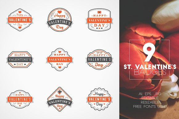 Set of 9 St. Valentine's Badges - Logos