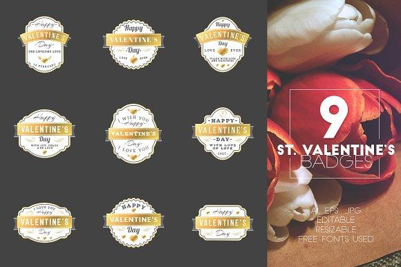 Set of 9 St. Valentine's Badges - Logos