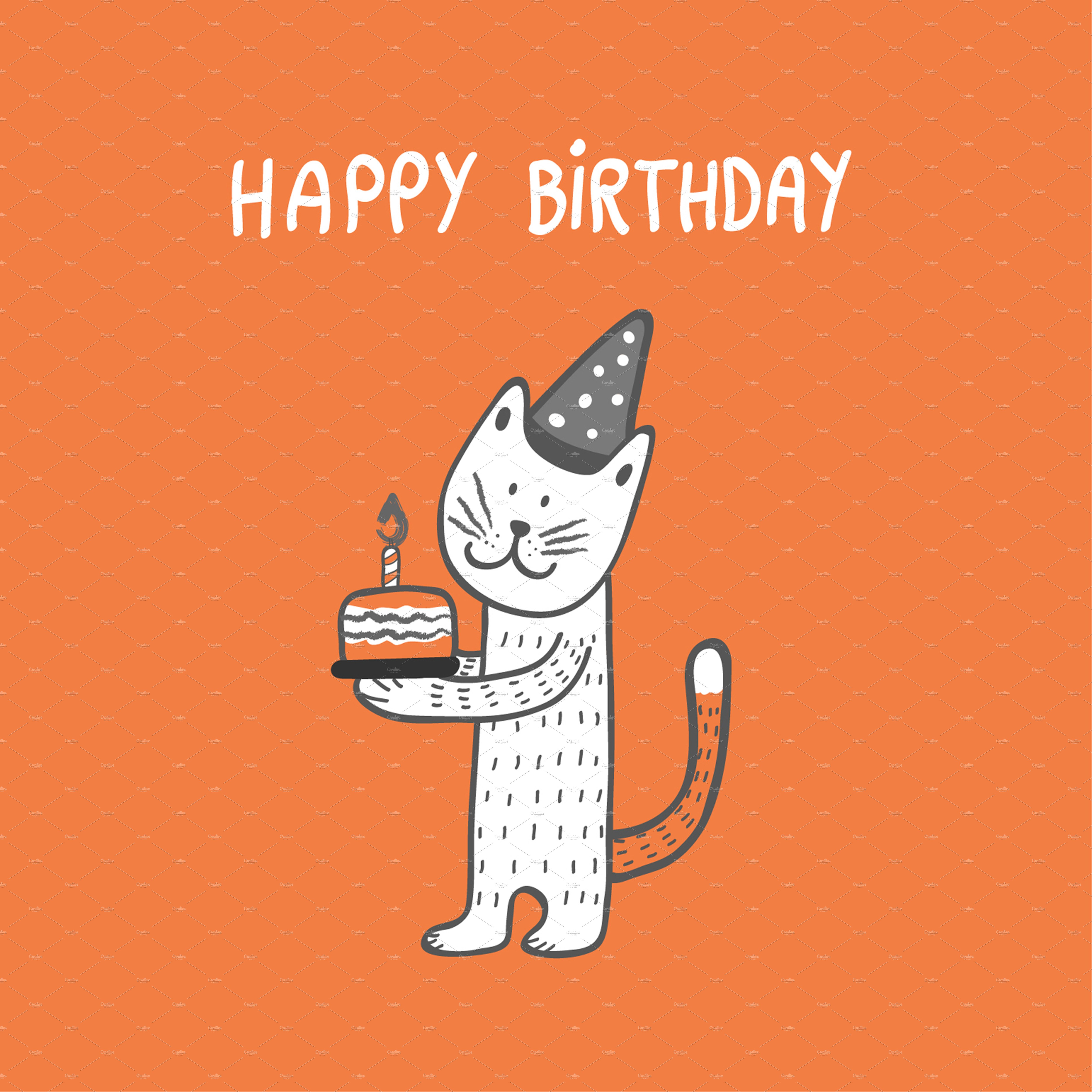 Happy Birthday Cat Illustrations Creative Market
