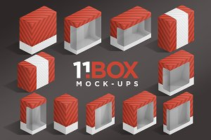11 Box Isometric Package Mockups