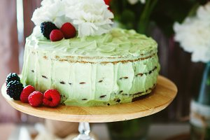 Mint cream cake decorated