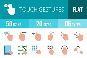 50 Touch  Flat Multicolor Icons