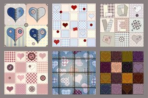 Hearts patterns in patchwork style.