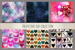 Seamless patterns with the hearts