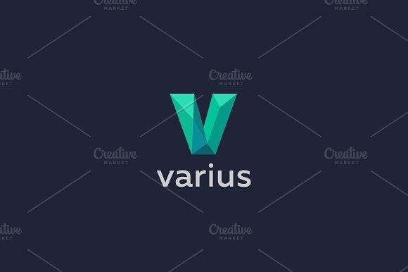 Polygon letter V logo. Colorful font - Logos