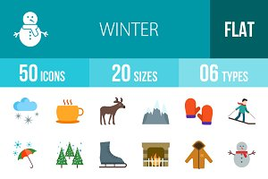50 Winter Flat Multicolor Icons