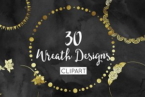 30 Gold Foil Wreath Clipart Design