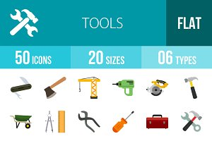 50 Tools Flat Multicolor Icons