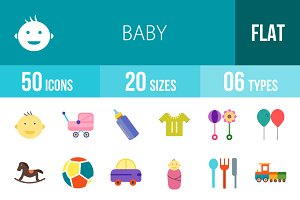 50 Baby Flat Multicolor Icons