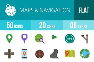 50 Maps Flat Multicolor Icons