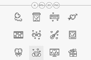 Valentines Day flat line icons set
