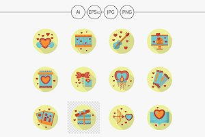 Romantic event flat round icons