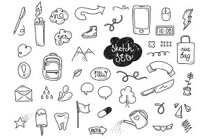 Sketch set. Hand drawn elements