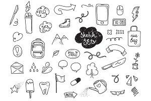 Sketch set. Hand drawn elements